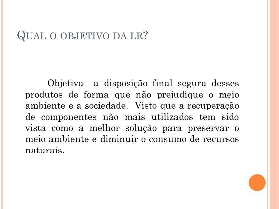 Q UAL O OBJETIVO DA LR .