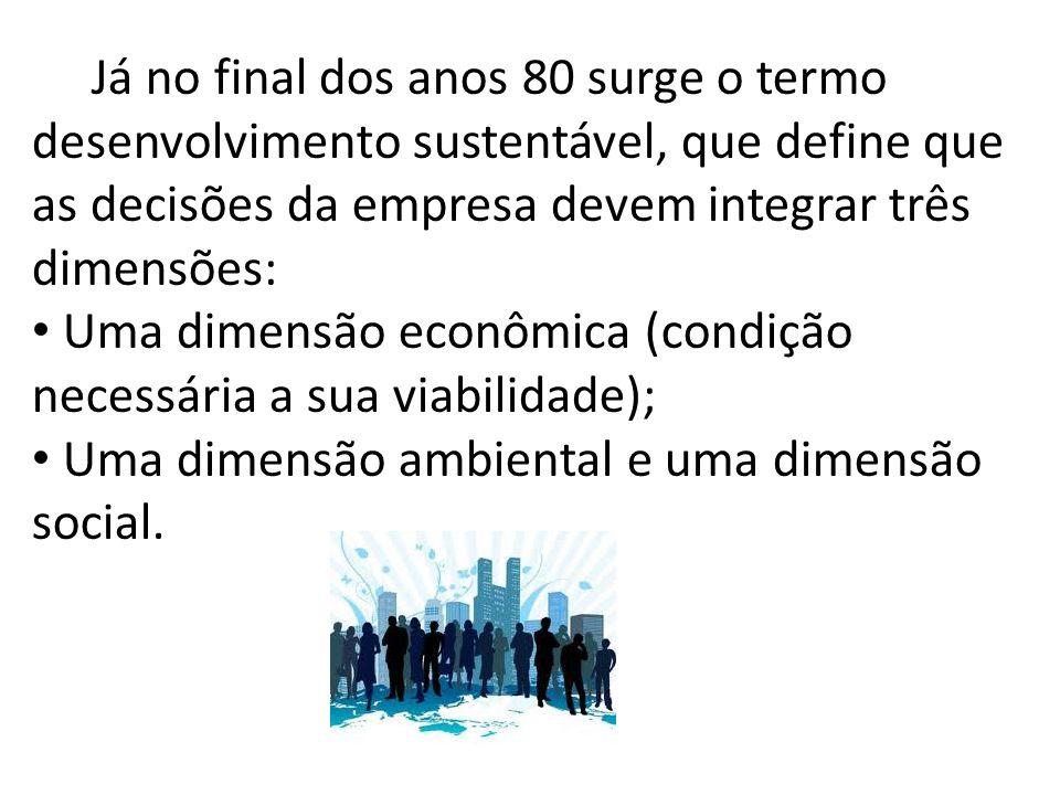 Já no final dos anos 80 surge o termo desenvolvimento sustentável, que define que as decisões da empresa devem integrar três dimensões: Uma dimensão econômica (condição necessária a sua viabilidade); Uma dimensão ambiental e uma dimensão social.