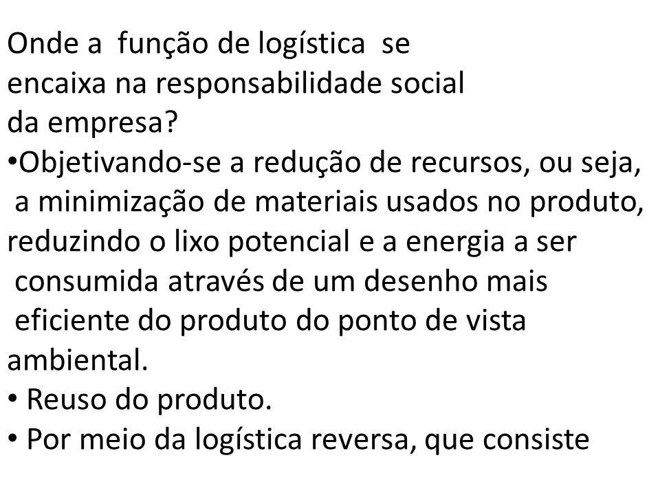 Onde a função de logística se encaixa na responsabilidade social da empresa? Objetivando-se a redução de recursos, ou seja, a minimização de materiais