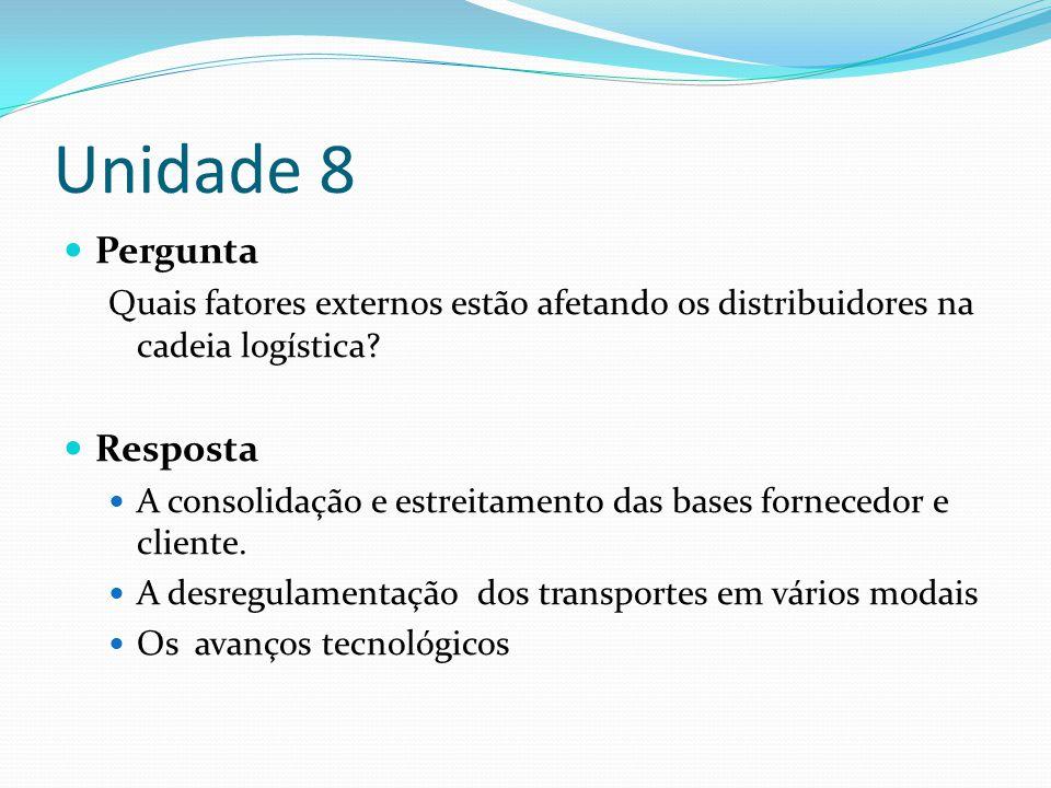 Unidade 8 Pergunta Quais fatores externos estão afetando os distribuidores na cadeia logística? Resposta A consolidação e estreitamento das bases forn