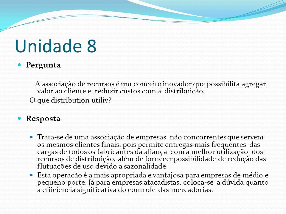 Unidade 8 Pergunta A associação de recursos é um conceito inovador que possibilita agregar valor ao cliente e reduzir custos com a distribuição. O que