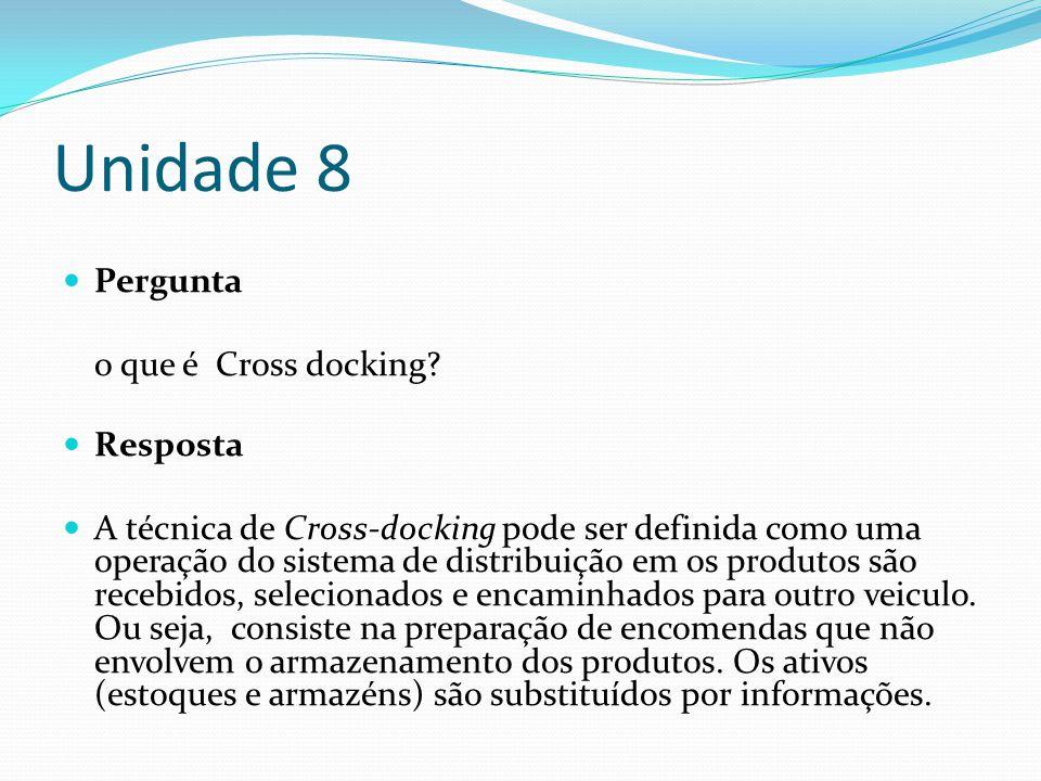 Unidade 8 Pergunta o que é Cross docking? Resposta A técnica de Cross-docking pode ser definida como uma operação do sistema de distribuição em os pro