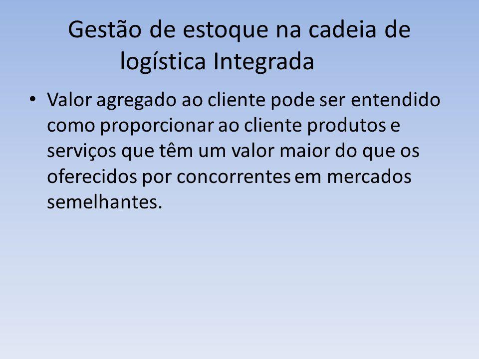 Gestão de estoque na cadeia de logística Integrada Valor agregado ao cliente pode ser entendido como proporcionar ao cliente produtos e serviços que t