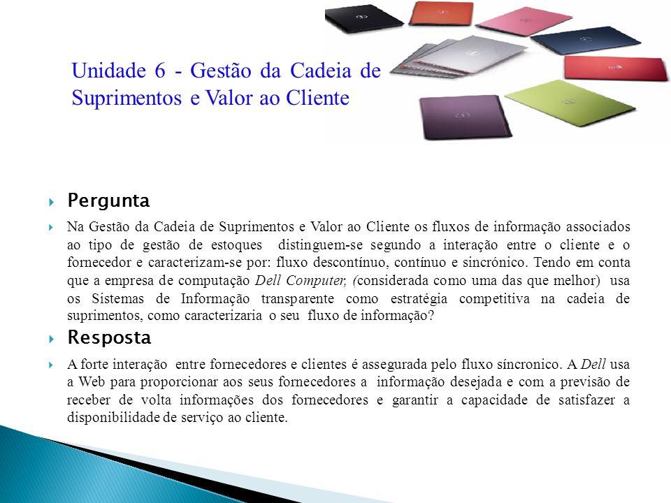 Pergunta Na Gestão da Cadeia de Suprimentos e Valor ao Cliente os fluxos de informação associados ao tipo de gestão de estoques distinguem-se segundo