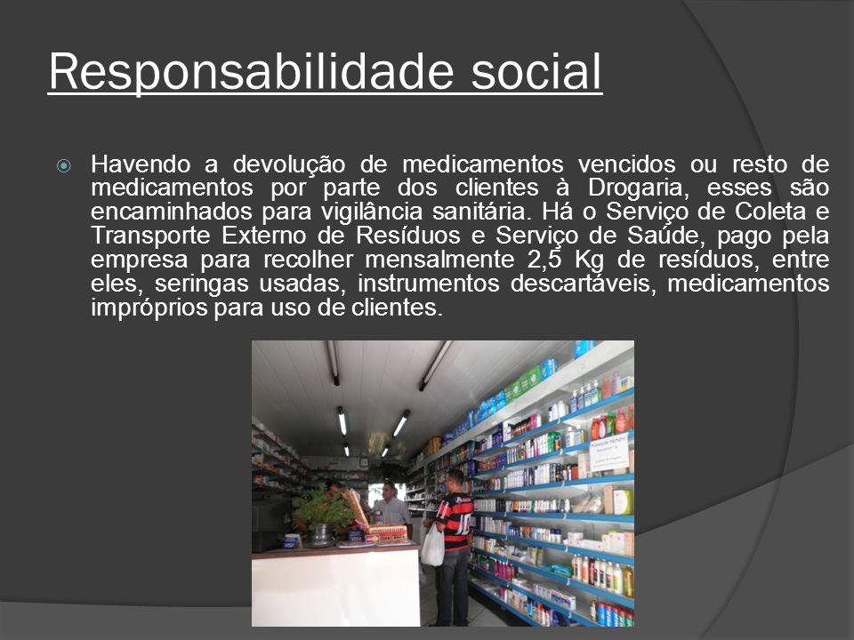 Responsabilidade social Havendo a devolução de medicamentos vencidos ou resto de medicamentos por parte dos clientes à Drogaria, esses são encaminhado