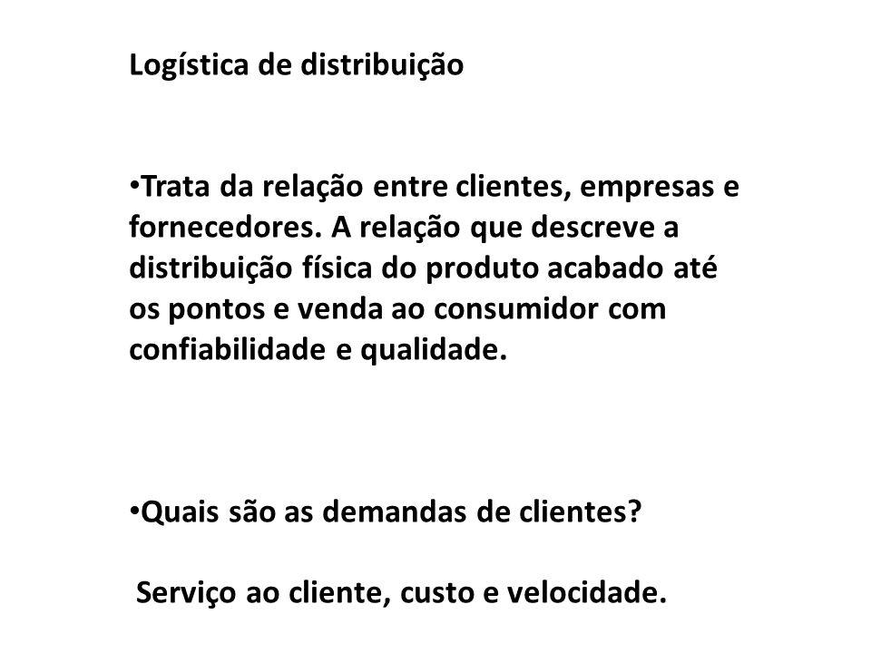 Logística de distribuição Trata da relação entre clientes, empresas e fornecedores. A relação que descreve a distribuição física do produto acabado at