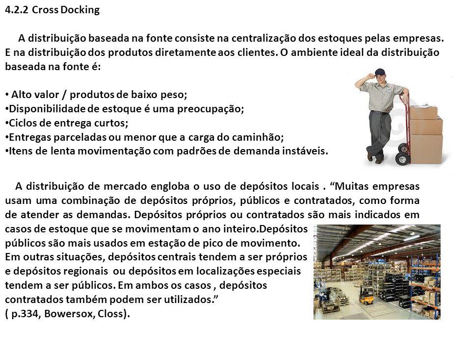 4.2.2 Cross Docking A distribuição baseada na fonte consiste na centralização dos estoques pelas empresas. E na distribuição dos produtos diretamente