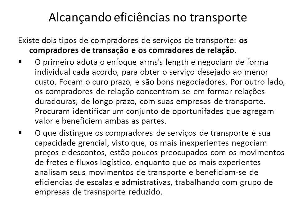 Alcançando eficiências no transporte Existe dois tipos de compradores de serviços de transporte: os compradores de transação e os comradores de relaçã