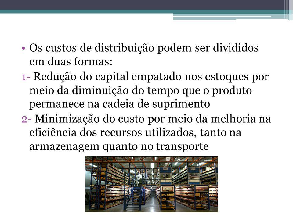 Os custos de distribuição podem ser divididos em duas formas: 1- Redução do capital empatado nos estoques por meio da diminuição do tempo que o produt