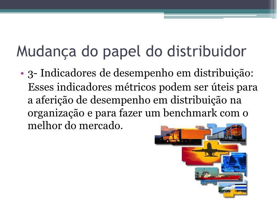 Mudança do papel do distribuidor 3- Indicadores de desempenho em distribuição: Esses indicadores métricos podem ser úteis para a aferição de desempenh