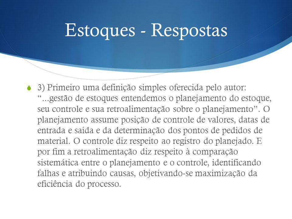 Estoques - Respostas 3) Primeiro uma definição simples oferecida pelo autor:...gestão de estoques entendemos o planejamento do estoque, seu controle e