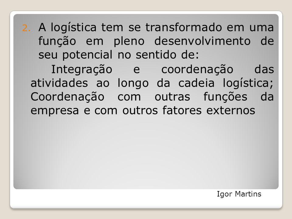 2. A logística tem se transformado em uma função em pleno desenvolvimento de seu potencial no sentido de: Integração e coordenação das atividades ao l