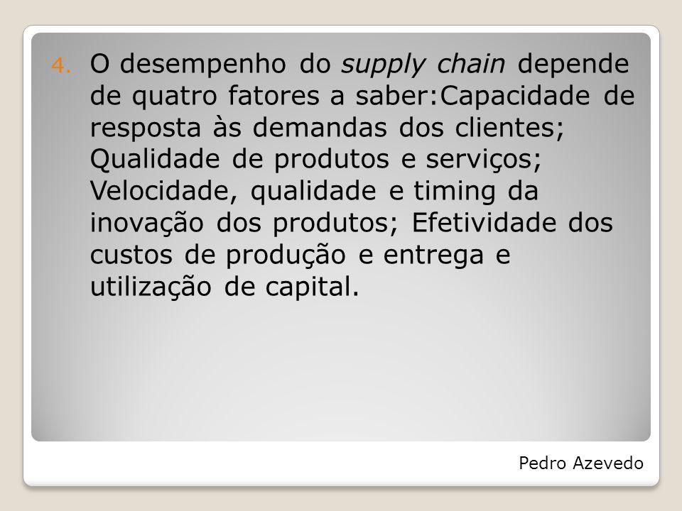 4. O desempenho do supply chain depende de quatro fatores a saber:Capacidade de resposta às demandas dos clientes; Qualidade de produtos e serviços; V
