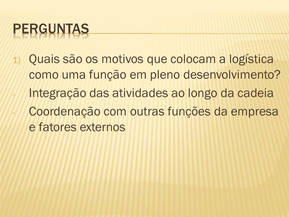 2) Quais os elos da cadeia logística tradicional.