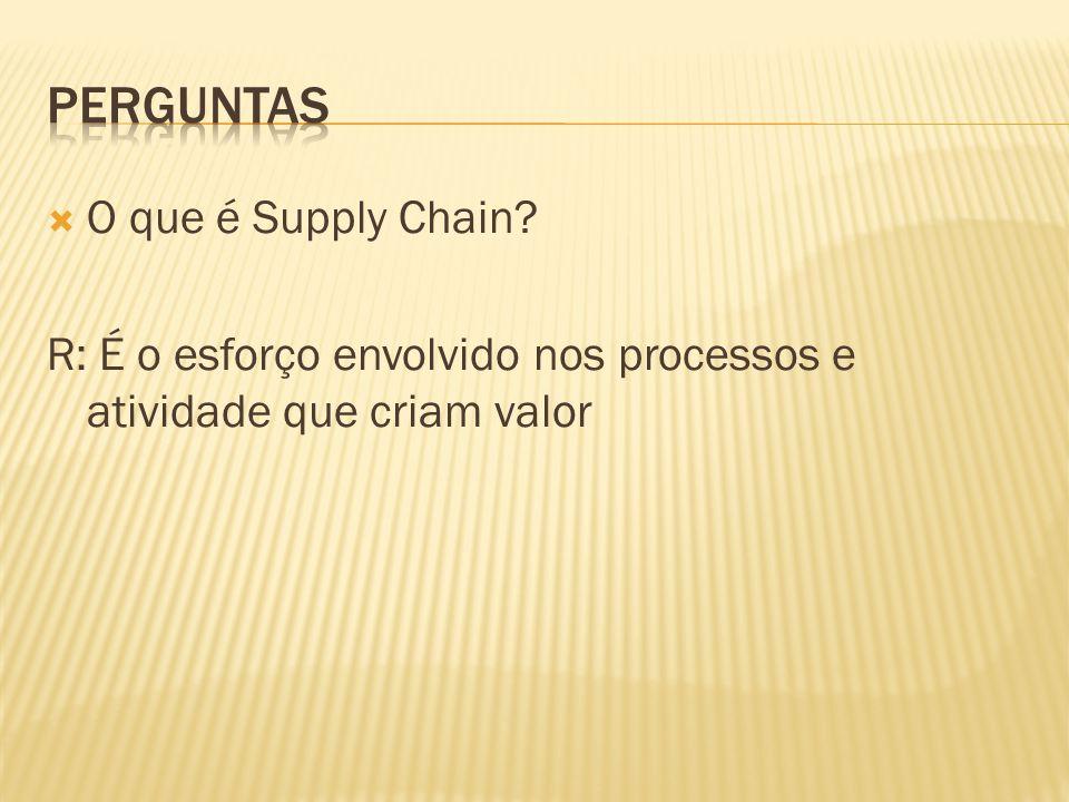 O que é Supply Chain? R: É o esforço envolvido nos processos e atividade que criam valor