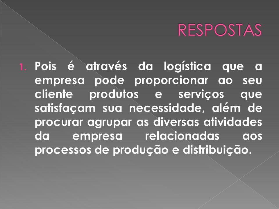 1. Pois é através da logística que a empresa pode proporcionar ao seu cliente produtos e serviços que satisfaçam sua necessidade, além de procurar agr