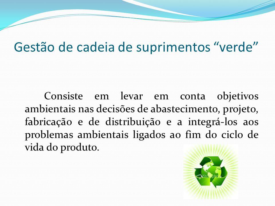 Gestão de cadeia de suprimentos verde Consiste em levar em conta objetivos ambientais nas decisões de abastecimento, projeto, fabricação e de distribu