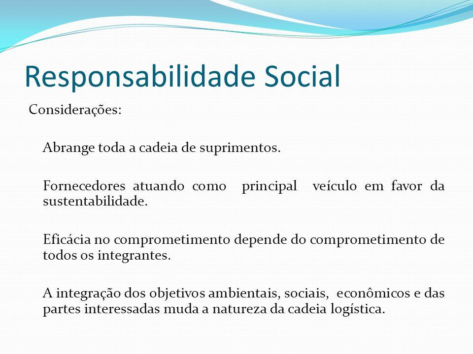 Responsabilidade Social Considerações: Abrange toda a cadeia de suprimentos. Fornecedores atuando como principal veículo em favor da sustentabilidade.