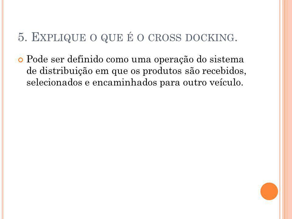 6.Q UAIS SÃO AS CARACTERÍSTICAS DO AMBIENTE IDEAL PARA IMPLANTAÇÃO DO CROSS DOCKING .