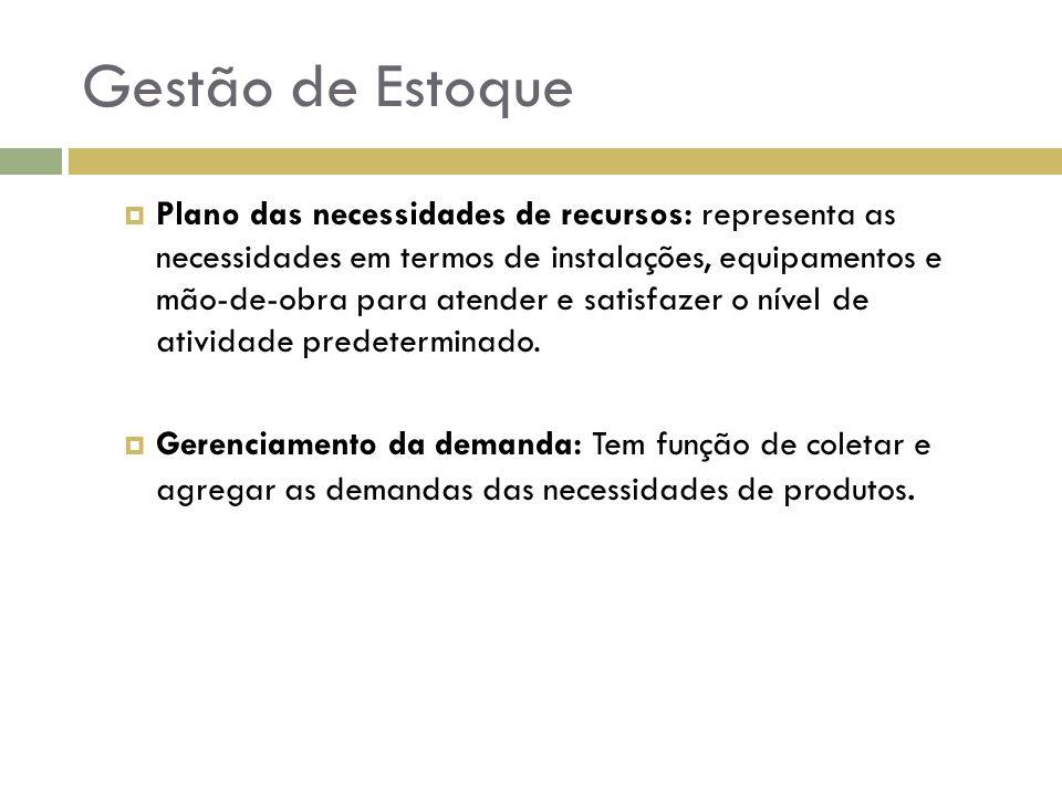 Objetivos da gestão de estoques Controle : Consiste no registro dos dados reais, correspondentes ao planejamento.
