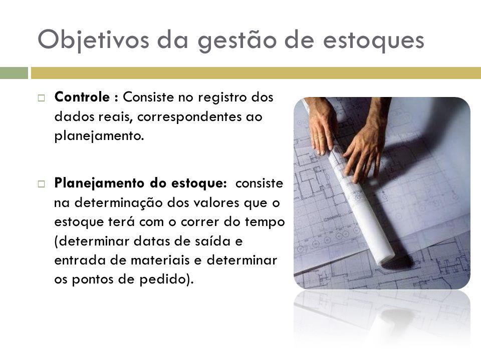 Objetivos da gestão de estoques Retroalimentação: É a comparação dos dados de controle com os dados do planejamento, para constatar seus desvios e determinar suas causas.