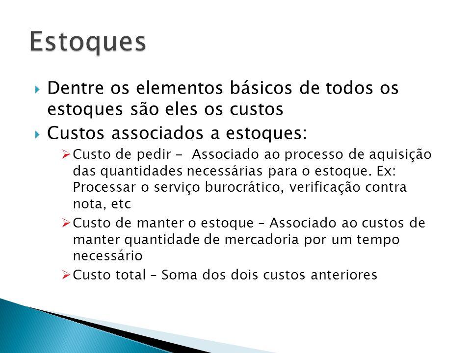 Dentre os elementos básicos de todos os estoques são eles os custos Custos associados a estoques: Custo de pedir - Associado ao processo de aquisição