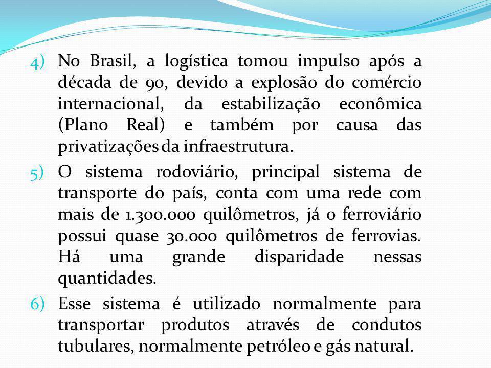 4) No Brasil, a logística tomou impulso após a década de 90, devido a explosão do comércio internacional, da estabilização econômica (Plano Real) e também por causa das privatizações da infraestrutura.