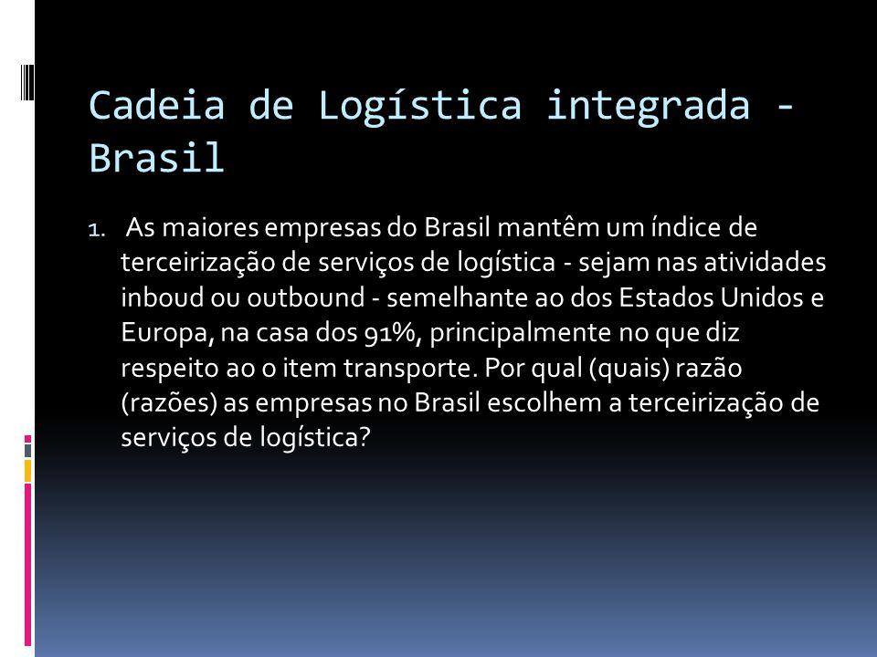 Cadeia de Logística integrada - Brasil 1. As maiores empresas do Brasil mantêm um índice de terceirização de serviços de logística - sejam nas ativida