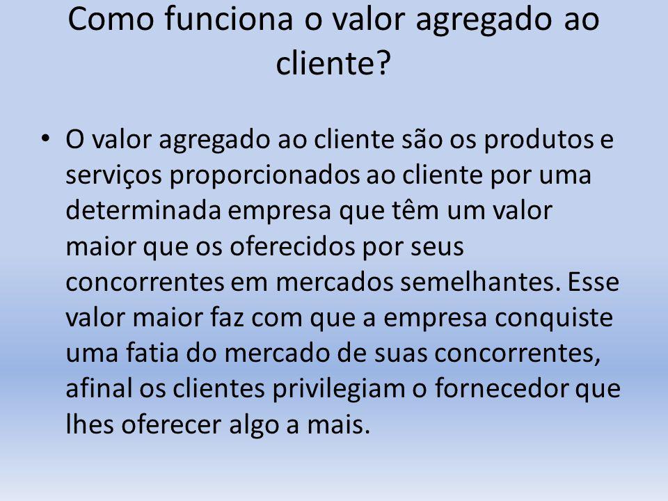 Como funciona o valor agregado ao cliente? O valor agregado ao cliente são os produtos e serviços proporcionados ao cliente por uma determinada empres