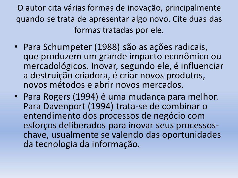 O autor cita várias formas de inovação, principalmente quando se trata de apresentar algo novo. Cite duas das formas tratadas por ele. Para Schumpeter