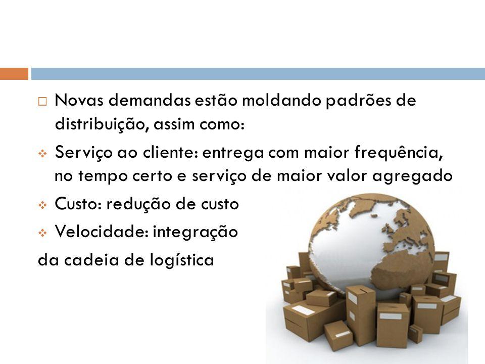 Novas demandas estão moldando padrões de distribuição, assim como: Serviço ao cliente: entrega com maior frequência, no tempo certo e serviço de maior
