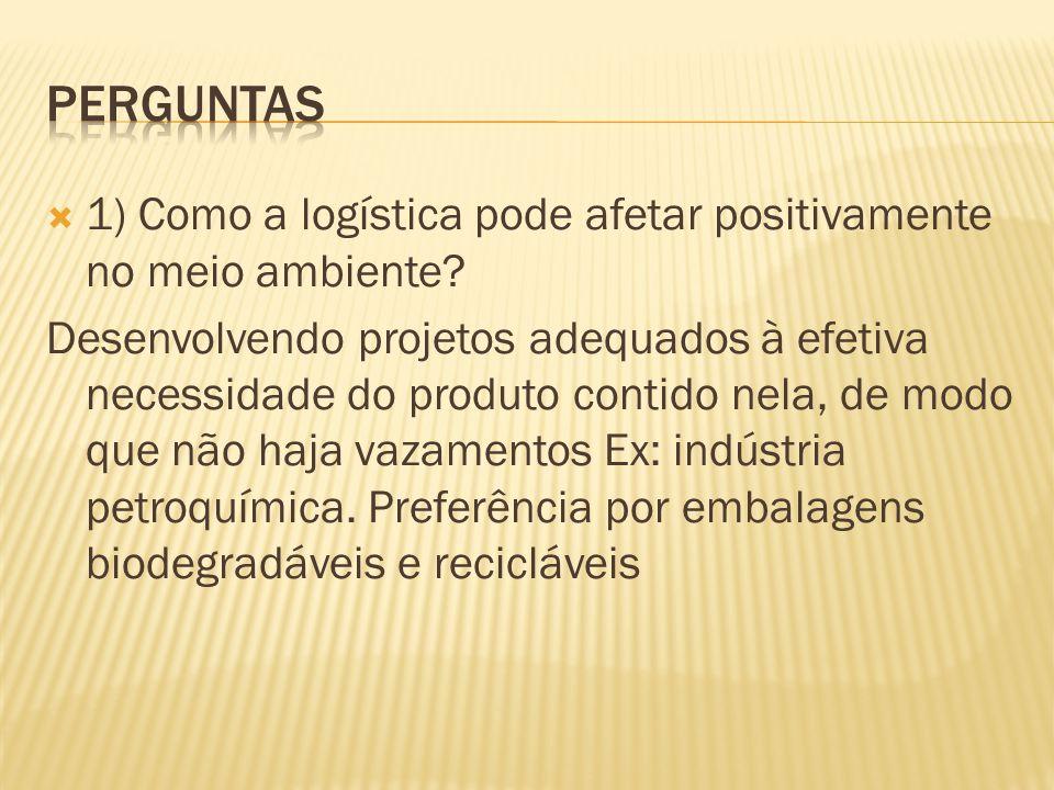 1) Como a logística pode afetar positivamente no meio ambiente.