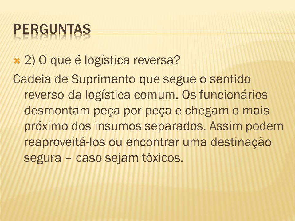 2) O que é logística reversa.Cadeia de Suprimento que segue o sentido reverso da logística comum.