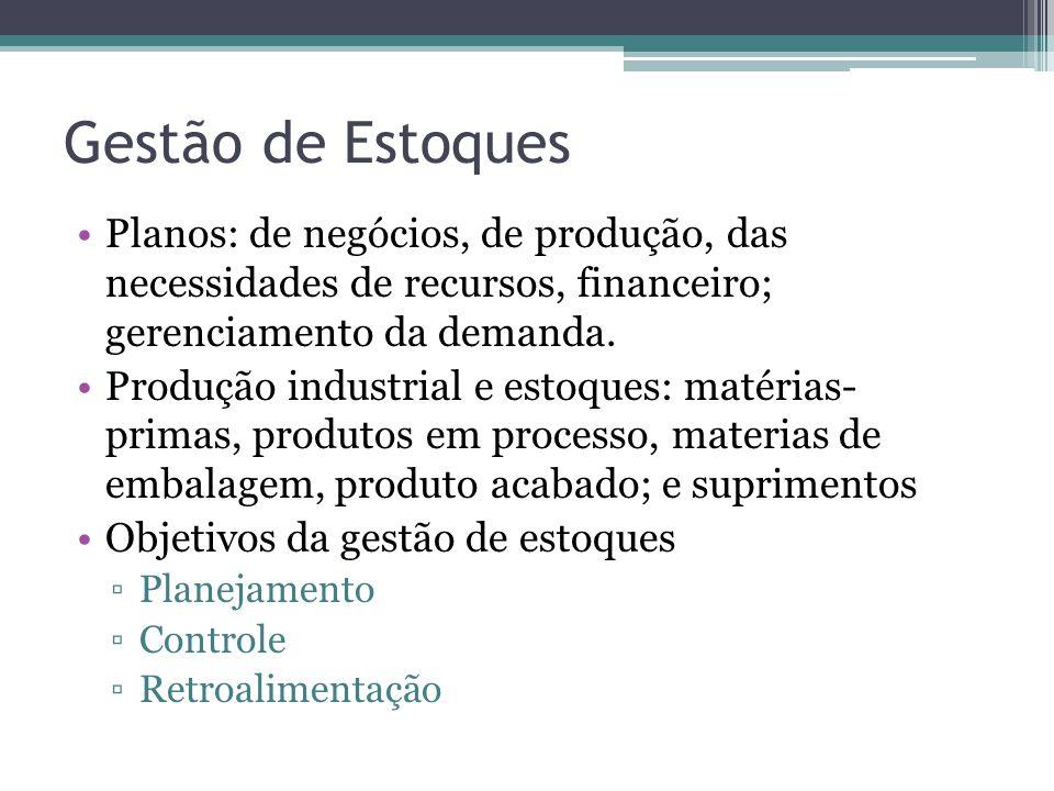 Gestão de Estoques Planos: de negócios, de produção, das necessidades de recursos, financeiro; gerenciamento da demanda. Produção industrial e estoque