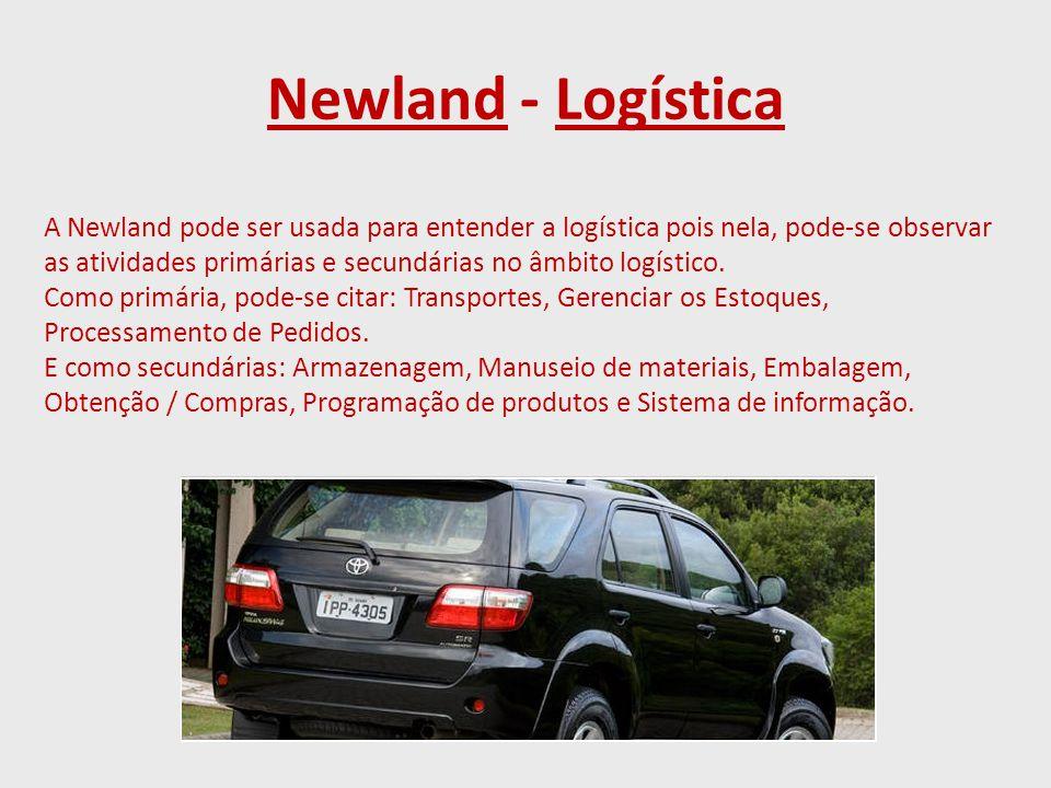 Newland - Logística A Newland pode ser usada para entender a logística pois nela, pode-se observar as atividades primárias e secundárias no âmbito logístico.