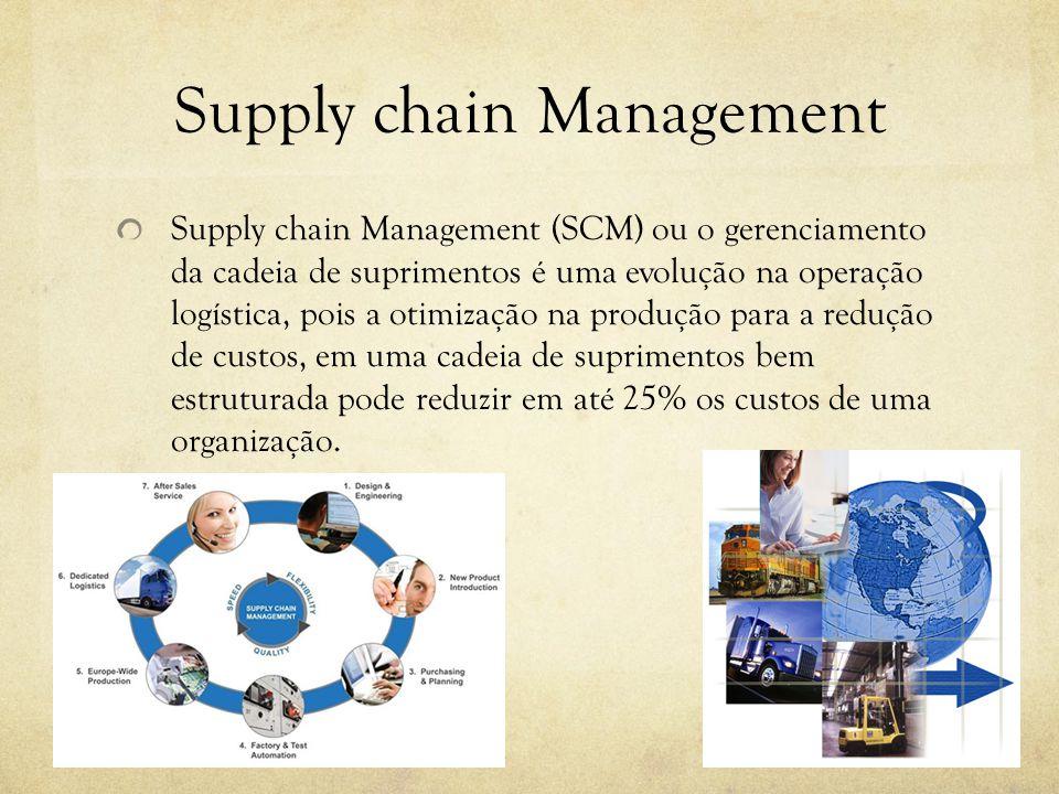 Supply chain Management Supply chain Management (SCM) ou o gerenciamento da cadeia de suprimentos é uma evolução na operação logística, pois a otimização na produção para a redução de custos, em uma cadeia de suprimentos bem estruturada pode reduzir em até 25% os custos de uma organização.