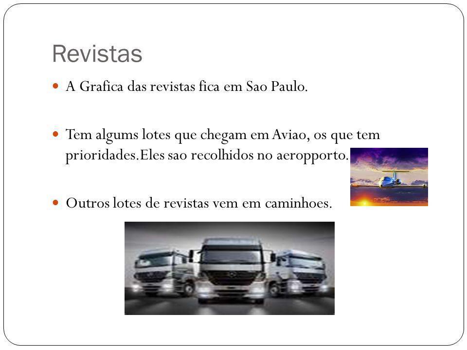Revistas A Grafica das revistas fica em Sao Paulo. Tem algums lotes que chegam em Aviao, os que tem prioridades.Eles sao recolhidos no aeropporto. Out