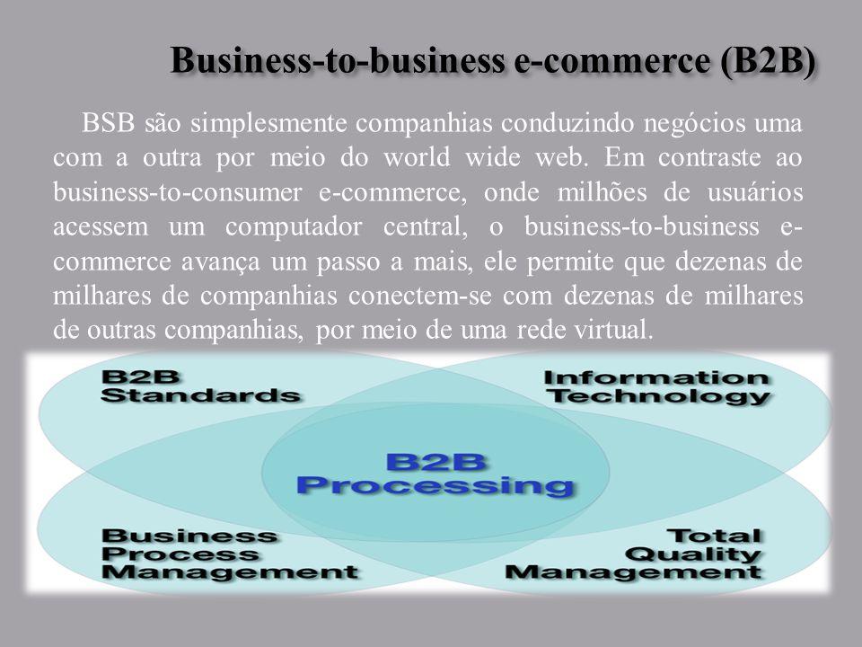 Business-to-business e-commerce (B2B) Business-to-business e-commerce (B2B) BSB são simplesmente companhias conduzindo negócios uma com a outra por meio do world wide web.
