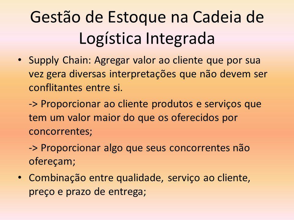 Gestão de Estoque na Cadeia de Logística Integrada Supply Chain: Agregar valor ao cliente que por sua vez gera diversas interpretações que não devem ser conflitantes entre si.