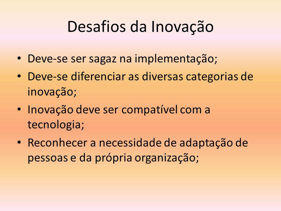 Desafios da Inovação Deve-se ser sagaz na implementação; Deve-se diferenciar as diversas categorias de inovação; Inovação deve ser compatível com a tecnologia; Reconhecer a necessidade de adaptação de pessoas e da própria organização;