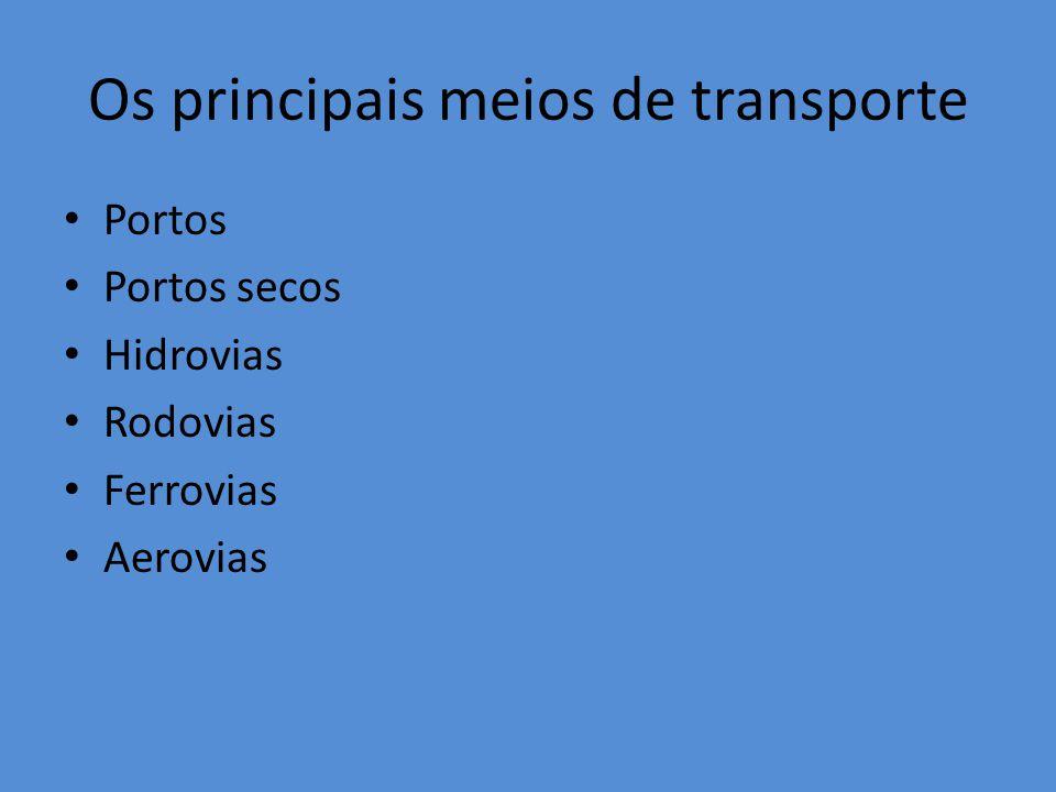 Os principais meios de transporte Portos Portos secos Hidrovias Rodovias Ferrovias Aerovias