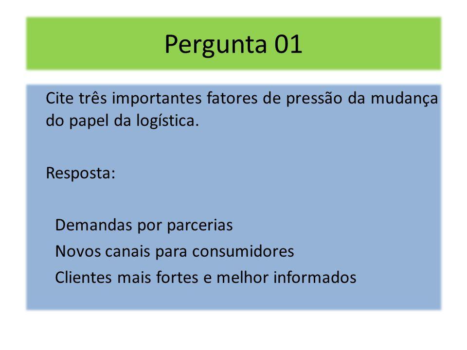 Pergunta 01 Cite três importantes fatores de pressão da mudança do papel da logística. Resposta: Demandas por parcerias Novos canais para consumidores