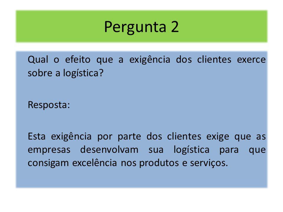 Pergunta 2 Qual o efeito que a exigência dos clientes exerce sobre a logística? Resposta: Esta exigência por parte dos clientes exige que as empresas