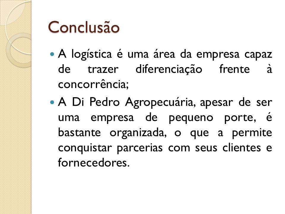 Conclusão A logística é uma área da empresa capaz de trazer diferenciação frente à concorrência; A Di Pedro Agropecuária, apesar de ser uma empresa de pequeno porte, é bastante organizada, o que a permite conquistar parcerias com seus clientes e fornecedores.