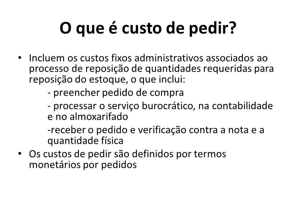 Incluem os custos fixos administrativos associados ao processo de reposição de quantidades requeridas para reposição do estoque, o que inclui: - preen