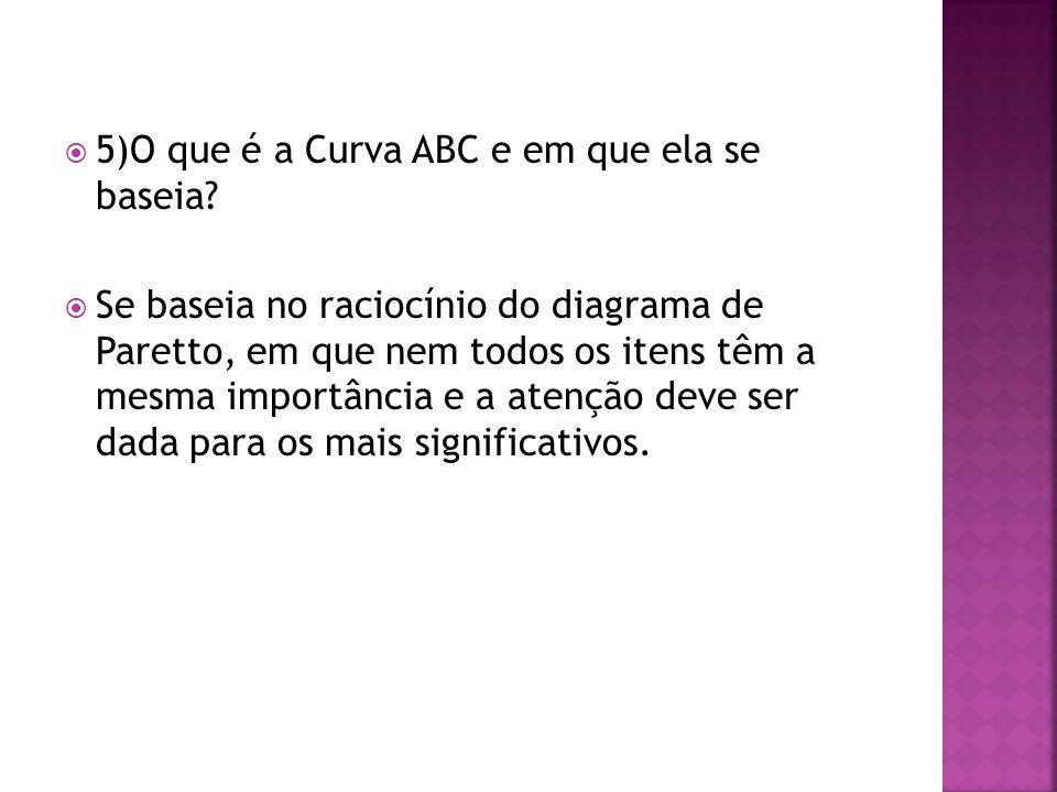 5)O que é a Curva ABC e em que ela se baseia? Se baseia no raciocínio do diagrama de Paretto, em que nem todos os itens têm a mesma importância e a at