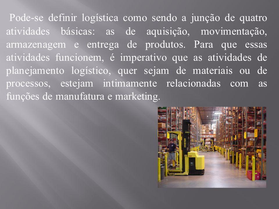 Pode-se definir logística como sendo a junção de quatro atividades básicas: as de aquisição, movimentação, armazenagem e entrega de produtos. Para que