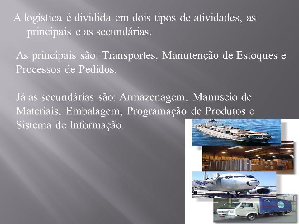 A logística é dividida em dois tipos de atividades, as principais e as secundárias. As principais são: Transportes, Manutenção de Estoques e Processos