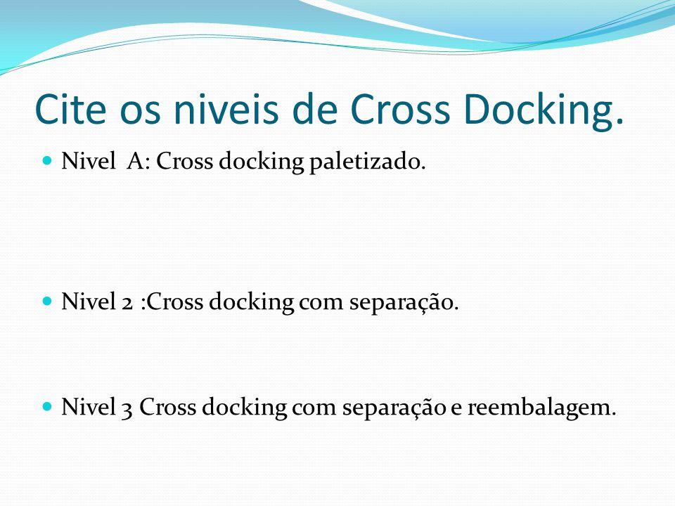 Cite os niveis de Cross Docking.Nivel A: Cross docking paletizado.