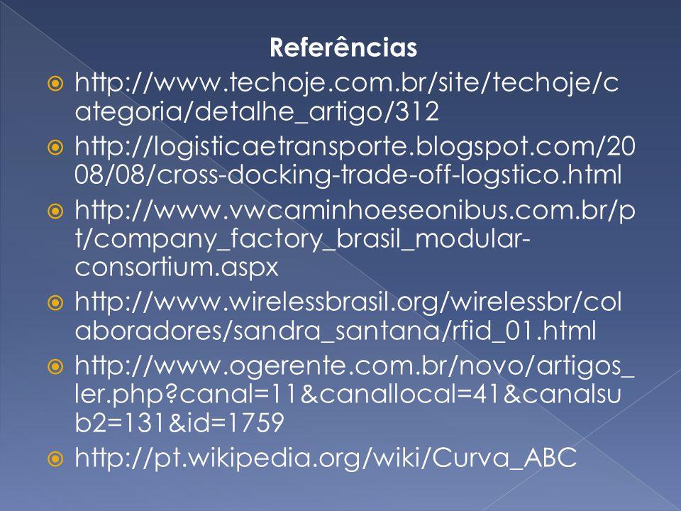 Referências http://www.techoje.com.br/site/techoje/c ategoria/detalhe_artigo/312 http://logisticaetransporte.blogspot.com/20 08/08/cross-docking-trade